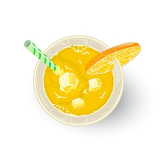 Bebida amarilla de cítricos y otros ingredientes en vaso con pajita, rodaja de naranja o limón. aperitivo, cóctel alcohólico paraíso, destornillador, tequila sunrise, mimosa. cóctel sin alcohol. vista superior.