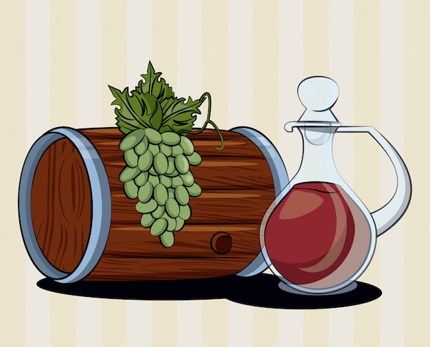 Bebida de barril de vino con jarra y uvas, diseño de ilustraciones vectoriales