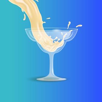 Bebida blanca que se vierte en la ilustración de dibujos animados de vector de copa de cóctel transparente