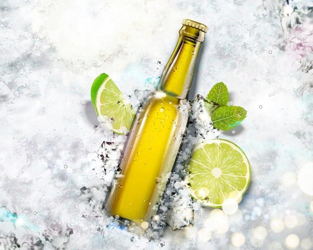 Bebida en botella de vidrio sobre fondo de hielo picado, ángulo de visión superior