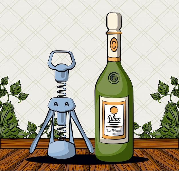 Bebida de botella de vino con sacacorchos, diseño de ilustraciones vectoriales