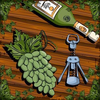 Bebida de botella de vino con sacacorchos y uvas, diseño de ilustraciones vectoriales