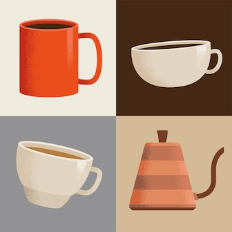 Bebida de café cuatro iconos