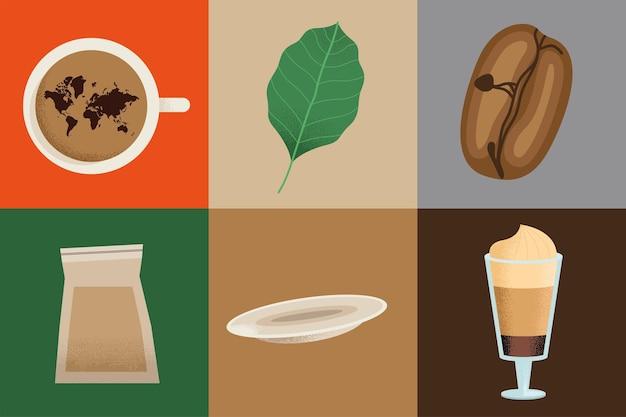 Bebida de café seis iconos