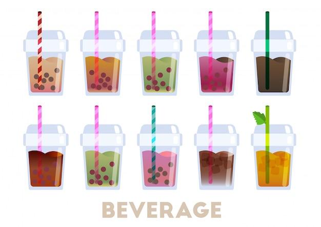 Bebida café y vector de té de burbujas