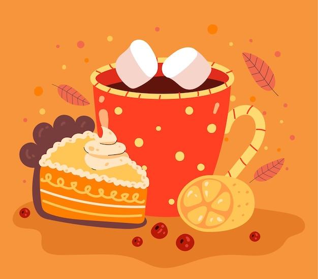 Bebida caliente de otoño con concepto de trozo de pastel