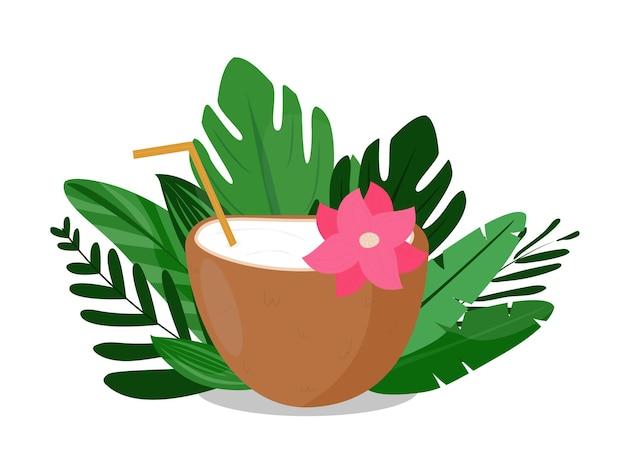 Bebida de concepto de coco en el fondo de hojas de palma, plátano. diseño de publicidad y blogs para resorts, playas, hoteles, aceite de coco y leche. ilustración vectorial. plano de estilo de dibujos animados