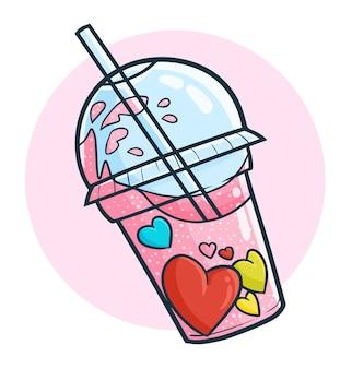 Bebida de corazón de san valentín fresca divertida y linda en estilo doodle