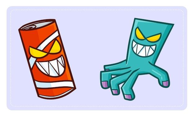 Bebida divertida y aterradora, lata roja fantasma, y zombi de la mano caminando con los dedos, saliendo para la noche de halloween.