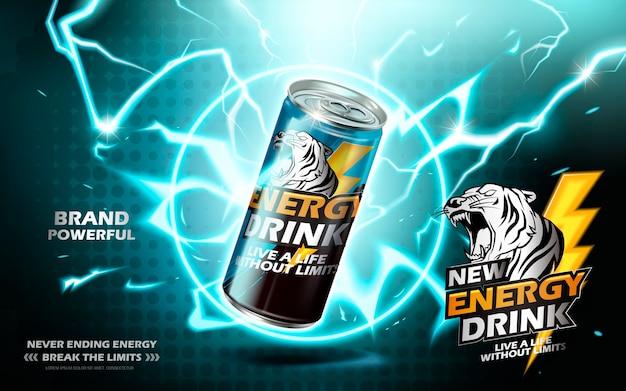 Bebida energética contenida en lata de metal con elemento de anillo de electricidad, fondo verde azulado