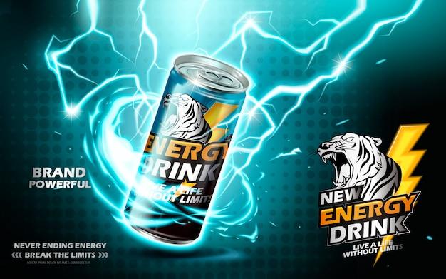 Bebida energética contenida en lata de metal con elemento de corriente eléctrica, fondo verde azulado
