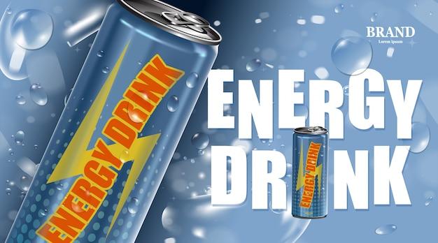 Bebida energética fresca en lata con póster de producto de burbuja
