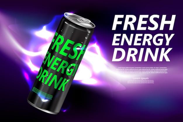 Bebida energética fresca en póster de producto en lata