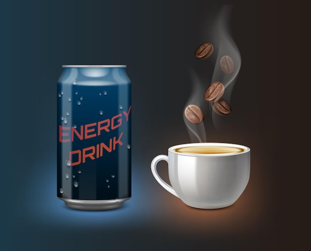 Bebida energética realista lata azul degradado con taza de café con vapor y granos de café sobre fondo azul oscuro