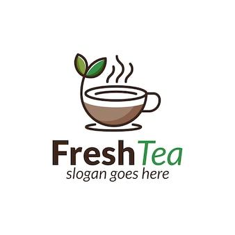 Bebida fresca de té natural o logotipo de arte de línea de hoja de café caliente para cafetería de negocios