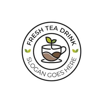 Bebida fresca de té de la naturaleza o logotipo de insignia de arte de línea de hoja de café caliente para café de negocios