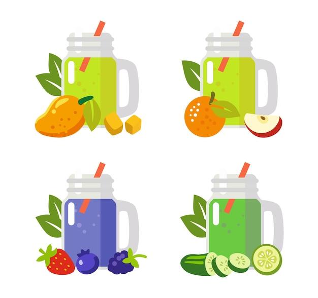 Bebida de fruta de jugo de batido.