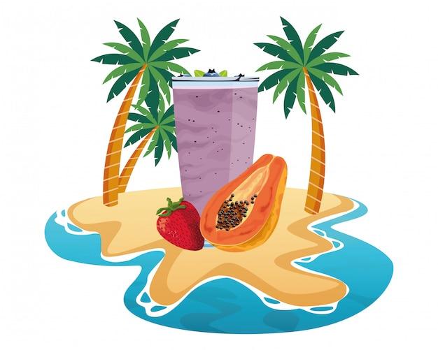 Bebida de frutas tropicales y batidos