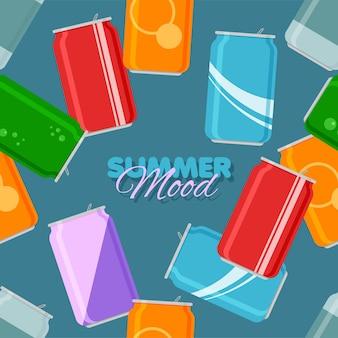 Bebida gaseosa lata de aluminio de patrones sin fisuras estado de ánimo de verano