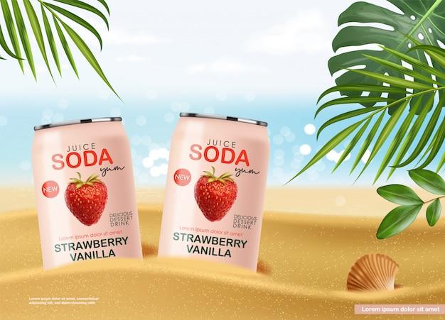 Bebida gaseosa en lata metálica con frutas de fresa, latas rosa realistas 3d, bebida de verano, diseño de paquete