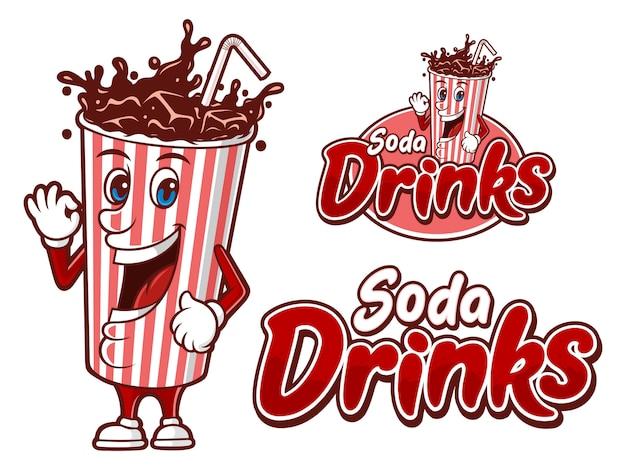 Bebida gaseosa en un vaso de papel, plantilla de logotipo con personaje divertido
