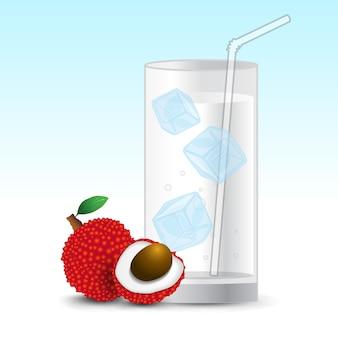 Bebida de jugo de lichi en vaso