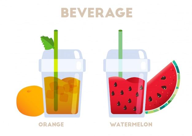 Bebida jugosa naranja y sandía vector