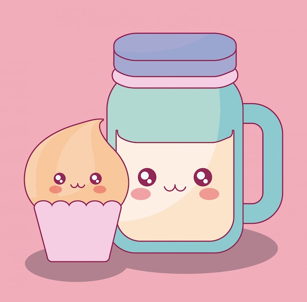 Bebida linda tarro y cupcake kawaii personajes