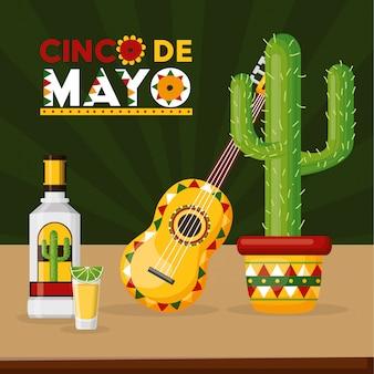 Bebida y música para celebración mexicana con cactus