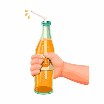 Bebida de naranja en botella de vidrio, mano que sostiene refresco refresco sabor variante de naranja en ilustración realista de dibujos animados sobre fondo blanco