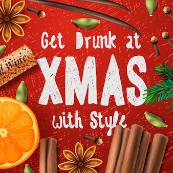 Bebida navideña de vino caliente con letras: emborracharse en navidad con estilo