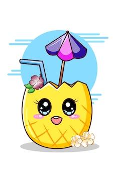 Bebida de piña dulce y linda en la ilustración de dibujos animados de verano