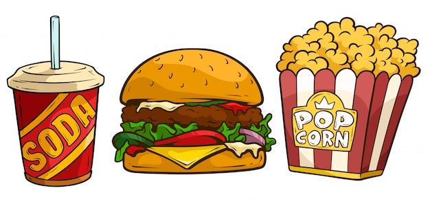 Bebida de soda de dibujos animados, hamburguesa grande y palomitas de maíz