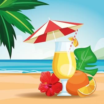 Bebida tropical con paraguas
