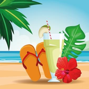 Bebida tropical con sandalias.