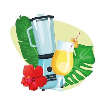 Bebida tropical con sombrilla y batidora.
