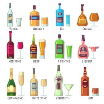 Bebidas alcohólicas en botellas y vasos conjunto de iconos de vector plano