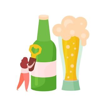Bebidas alcohólicas cócteles composición plana con botella de cerveza con vaso y mujer sosteniendo abridor