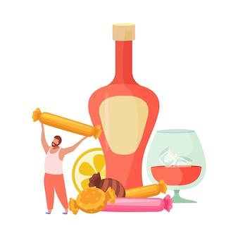 Bebidas alcohólicas cócteles composición plana con botella de licor con hielo de vidrio y caramelos
