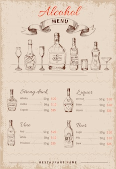 Bebidas alcohólicas menú dibujado a mano