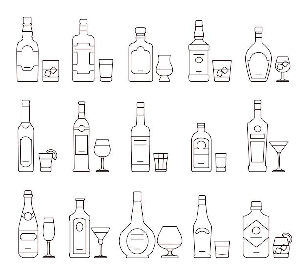 Bebidas alcohólicas resumen iconos, botellas y vasos símbolos de línea delgada