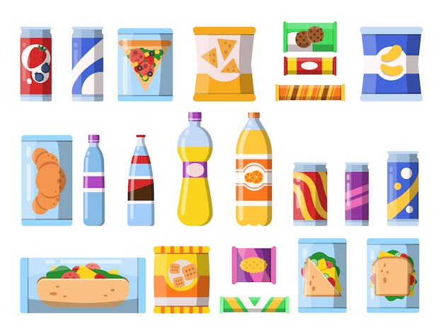 Bebidas alimenticias. envases de plástico, comida rápida, bebidas y aperitivos, galletas dulces, chips, plano aislado