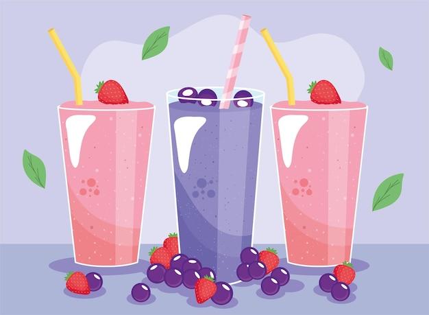 Bebidas de batidos de fresas y frutos del bosque