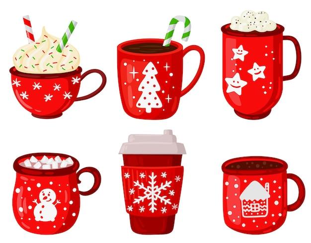 Bebidas calientes navideñas bebidas de invierno de navidad latte capuchino y malvaviscos de chocolate caliente conjunto de vectores