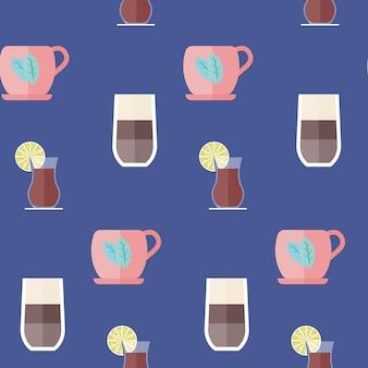 Bebidas calientes de patrones sin fisuras aislado en la ilustración de vector de fondo azul