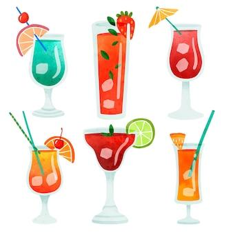 Bebidas de cóctel de colores con varios vasos en forma de conjunto de ilustración