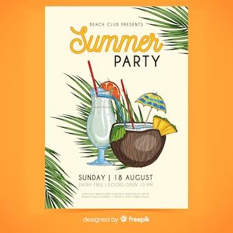 Bebidas con cóctel paraguas cartel de verano