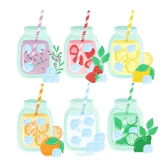 Bebidas coloridas dibujadas a mano