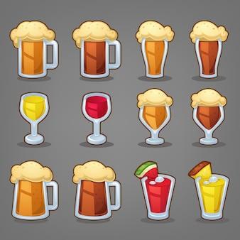 Bebidas de dibujos animados, iconos brillantes y objetos para su aplicación o menú