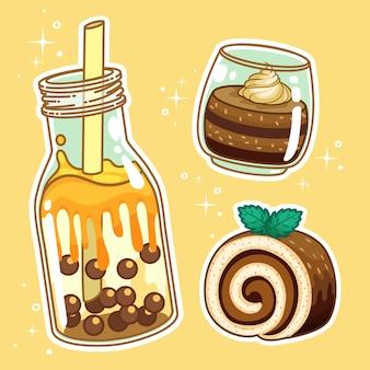 Bebidas con dulces. colección de conjuntos dibujados a mano.